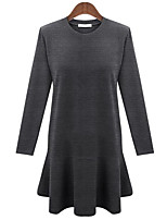 Women's Plus Size Simple Loose Dress,Solid Round Neck Above Knee Long Sleeve Red / Black / Gray Cotton Spring