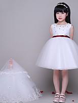 A-라인 숏 / 미니 플라워 걸 드레스 - 튤 민소매 쥬얼리 와 비즈 / 크리스탈 디테일