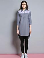 BURDULLY® Dames Overhemdkraag Lange mouw Shirt & Blouse Grijs-1636