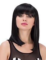 cosplay résistant perruques synthétiques noir cheveux raides long chaleur