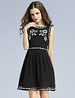 Boutique S Women's Casual/Daily Vintage A Line Dress,Embroidered Round Neck Above Knee Sleeveless Black Polyester Summer