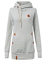 Women's Casual/Daily / Sports / Holiday Simple / Cute / Active Regular Hoodies,Solid Blue / Red / Brown BN0731