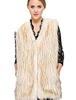 Women's Plus Size / Casual/Daily / Party/Cocktail Simple Fur Coat,Solid V Neck Sleeveless Fall / Winter Blue /