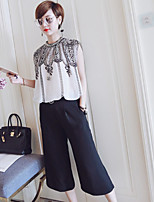 Boutique S Women's Casual/Daily Street chic Fall Set Pant,Embroidered Round Neck Sleeveless Cotton / Polyester Thin