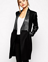 Women's Casual/Daily Simple Coat,Patchwork Shirt Collar Long Sleeve Spring / Winter Black Polyester Thick