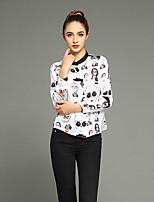 JOJ  Women's Going out Cute / Street chic Spring Shirt,Print Round Neck Long Sleeve