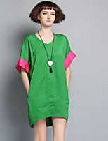 Boutique S Women's Casual/Daily Simple Loose Dress,Solid V Neck Above Knee ½ Length Sleeve Pink / Green Linen Summer