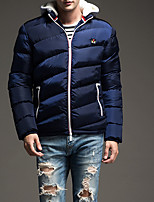 Men's Regular Padded Coat,Polyester Solid Long Sleeve