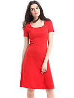 Women's Plus Size / Casual/Daily Street chic A Line Dress,Solid Round Neck Knee-length Short Sleeve (S-XXXXL)