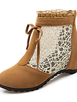 Women's Boots Fashion Boots / Round Toe Lace / Fleece Office & Career / Dress / Casual Low Heel Bowknot / Zipper