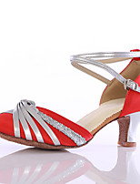 Women's Latin Silk Heels Indoor Customized Heel Ruby Customizable