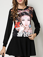 Women's Casual/Daily Street chic Fall / Winter T-shirt,Print Round Neck Long Sleeve Black Cotton / Rayon Medium