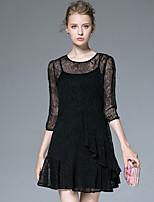 AFOLD® Women's Round Neck 3/4 Length Sleeve Above Knee Dress-6037