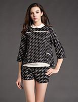 JOJO HANS  Women's Work Sophisticated Spring SetCheck Shirt Collar Sleeve Black Rayon Opaque