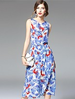 Boutique S Women's Casual/Daily Street chic A Line Dress,Print Round Neck Midi Sleeveless Blue Silk Summer