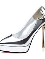 Damen-High Heels-Lässig-PU-Stöckelabsatz-Absätze-Schwarz / Silber