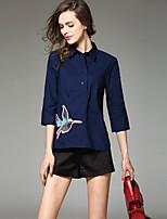JOJO HANS  Women's Going out Cute / Street chic Spring Shirt,Embroidered Shirt Collar ¾ Sleeve Blue Silk