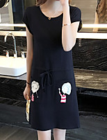 Women's Casual/Daily / Plus Size Cute Two Piece Dress,Solid Round Neck Above Knee Short Sleeve Black Cotton / Rayon Summer