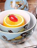 bol en céramique de soupe bol personnalité oiseau peint à la main