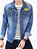 Men's Fashion Letter Print Broken Hole Slim Fit Casual Long Sleeve Denim Jacket,Cotton/Print/Casual/Plus Size