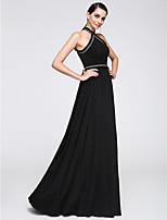 Formeller Abend Kleid Eng anliegend Träger Boden-Länge Chiffon mit Muster / Druck / Tassel(n)