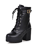 Women's Boots Spring / Fall / Winter Platform / Fashion Boots / Combat Boots Leatherette Outdoor / Casual Chunky Heel
