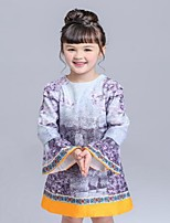 Girl's Casual/Daily Floral Dress / BlouseCotton Spring / Fall Gray