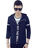 Summer Fall Men's Casual/Daily Simple Coat Round Neck Long Sleeve Slim Jackets Tops