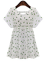 Women's Street chic Print Plus Size Dress,Round Neck Above Knee Polyester