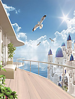 JAMMORY Wallpaper For Home Wall Covering Canvas Adhesive required Mural Castle Seaside Scenery 3XL(14'7''*9'2'')