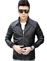 Men's Long Sleeve Casual / Work / Formal / Sport / Plus Sizes Jacket,PU Solid Black / Blue / Brown