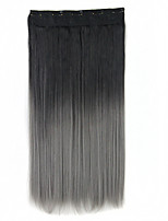 5Clips Gradient Ramp Color Clip In Hair Extensions Synthetic Hairpieces Slice Straight 24Inch 60cm Black-Gray Ombre