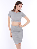 Women's Casual/Daily Simple / Street chic Over Hip Slim Sexy Set SkirtSolid Round Neck Short Sleeve