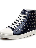Herren-Flache Schuhe-Lässig-PU-Flacher Absatz-Komfort-Schwarz / Blau / Weiß