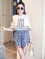 Women's Going out / Beach Vintage / Cute Summer T-shirt Pant,Print Round Neck Short Sleeve White / Black