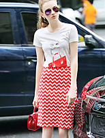Women's Casual/Daily Street chic Summer Set Skirt,Print Round Neck Short Sleeve Cotton / Polyester Thin