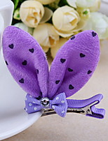 Korean Flower Girl's Bow Dot Rabbit Ears Fabric Hair Clip