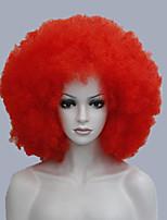diversiones afro naranja peluca del payaso de circo peluca traje adulto rizado fro unisex de Halloween