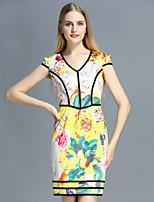 Damen Etuikleid Kleid-Lässig/Alltäglich Retro Blumen V-Ausschnitt Übers Knie Kurzarm Gelb Polyester Sommer
