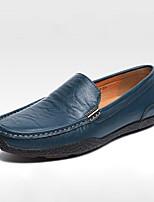 Men's Sneakers Summer Round Toe / Slippers PU Casual Flat Heel Ruffles Black / Blue / Brown Walking