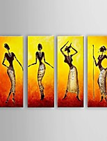 Hand-Painted Southeast Asian Style African women Oil Painting on Canvas 4pcs/set with Stretched Frame