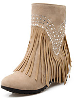 Women's Shoes Fashion Boots / Round Toe Boots Party & Evening / Dress / Casual Wedge Heel Beading / Tassel
