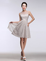 Cocktail Party Dress A-line Jewel Short / Mini Lace with Appliques / Buttons / Lace