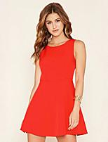 Damen Hülle Kleid-Ausgehen Einfach Solide Rundhalsausschnitt Mini Ärmellos Rot Polyester Sommer Mittlere Hüfthöhe Mikro-elastisch