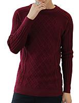 Мужской Однотонный Пуловер На каждый день / Для офиса,Хлопок / Акрил / Спандекс,Длинный рукав,Черный / Синий / Розовый / Серый