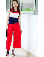 Women's Casual/Daily Simple Summer Set Pant,Patchwork Round Neck Sleeveless Red Polyester Medium