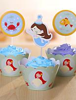 Accessoires pour Gâteaux Parti Vaisselle Anniversaire rustique Theme Other Non personnalisé Papier cartonné Bleu 12Pièce/Set