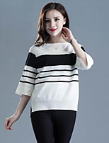 Women's Casual/Daily Street chic RegularStriped Round Neck ½ Length Sleeve Acrylic Spring / Fall Medium