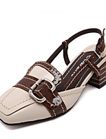 Women's Sandals Summer Sandals / Square Toe Patent Leather Casual Chunky Heel Others Almond Others