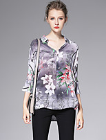 AFOLD® Women's Stand 3/4 Length Sleeve Shirt & Blouse Gray-6067
